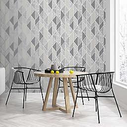 Milan Geo Non-Woven Wallpaper in Silver