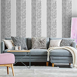 Milan Stripe Vinyl Wallpaper in Silver/Grey