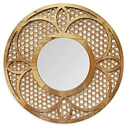 Stratton Home Décor Matilda 28-Inch Round Wall Mirror in Honey