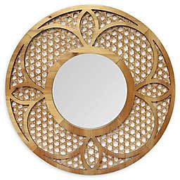 Stratton Home Décor Matilda 28-Inch Round Wall Mirror in Honey