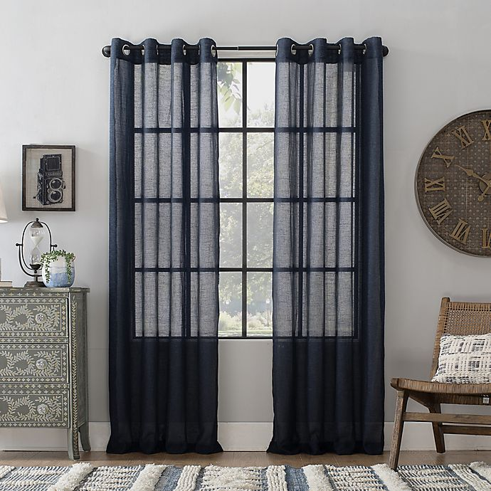 Alternate image 1 for Archaeo® Slub Linen 84-Inch Grommet Semi-Sheer Window Curtain Panel in Navy