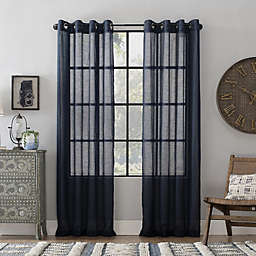 Archaeo® Slub Linen 84-Inch Grommet Semi-Sheer Window Curtain Panel in Navy