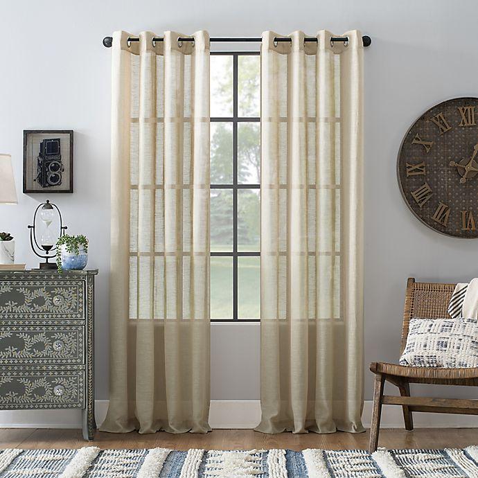 Alternate image 1 for Archaeo® Slub Linen 84-Inch Grommet Semi-Sheer Window Curtain Panel in Linen