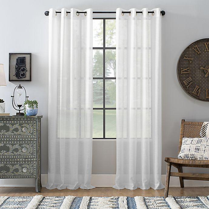 Alternate image 1 for Archaeo® Slub Linen Grommet Semi-Sheer Window Curtain Panel