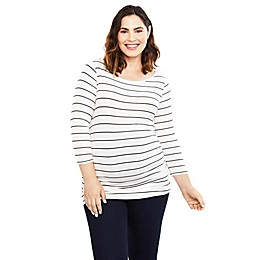 Motherhood Maternity® Three-Quarter Sleeve Keyhole Maternity Top