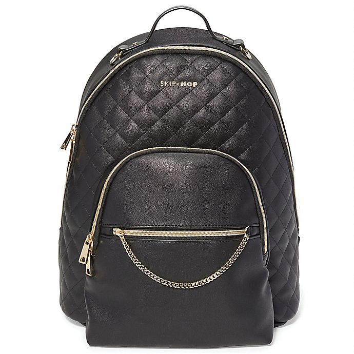 Alternate image 1 for SKIP*HOP® Linx™Quilted Diaper Backpack in Black
