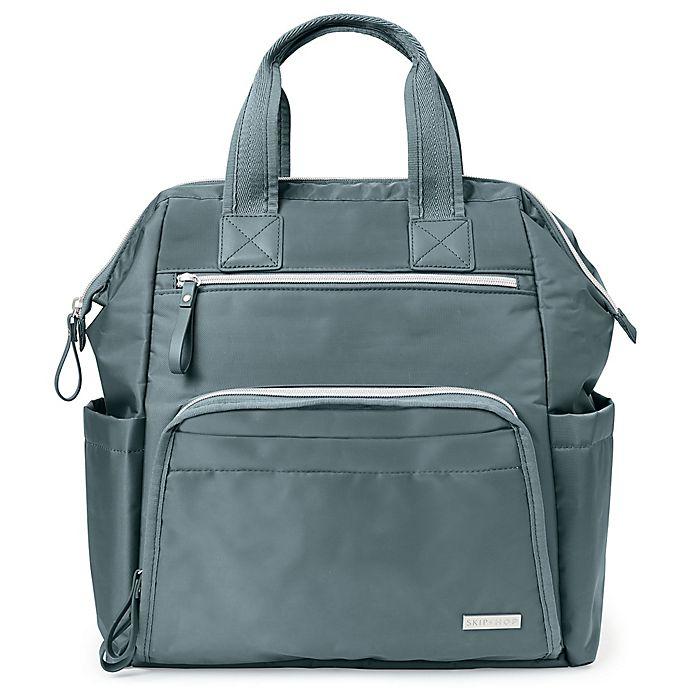 Alternate image 1 for SKIP*HOP® Mainframe Wide Open Diaper Backpack in Silver