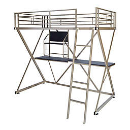 Powell Baines Loft Twin Bunk Bed in Pewter