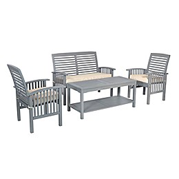 Forest Gate Eagleton 4-Piece Acacia Patio Chat Set with Cushions