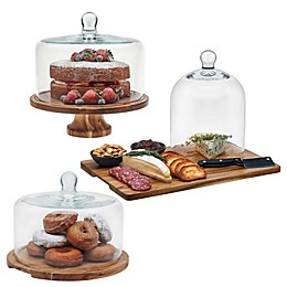 Libbey® Glass 3-Piece Acacia Wood Dip Bowl Set