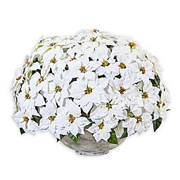 Nearly Natural® 29-Inch White Poinsettia Artificial Arrangement with Cement Bowl