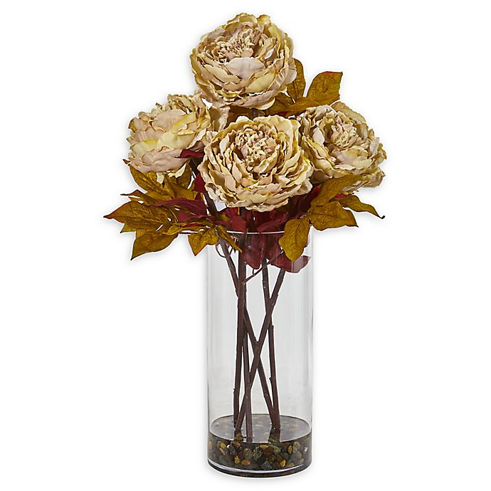 Nearly Natural 24 Inch Artificial Peony Flower Arrangement In Cream With Glass Vase Bed Bath And Beyond Canada