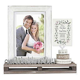 Wedding Day and Cake Picture Frame in White