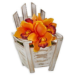 Nearly Natural® 8-Inch Cymbidium Orchid Artificial Arrangement in Planter