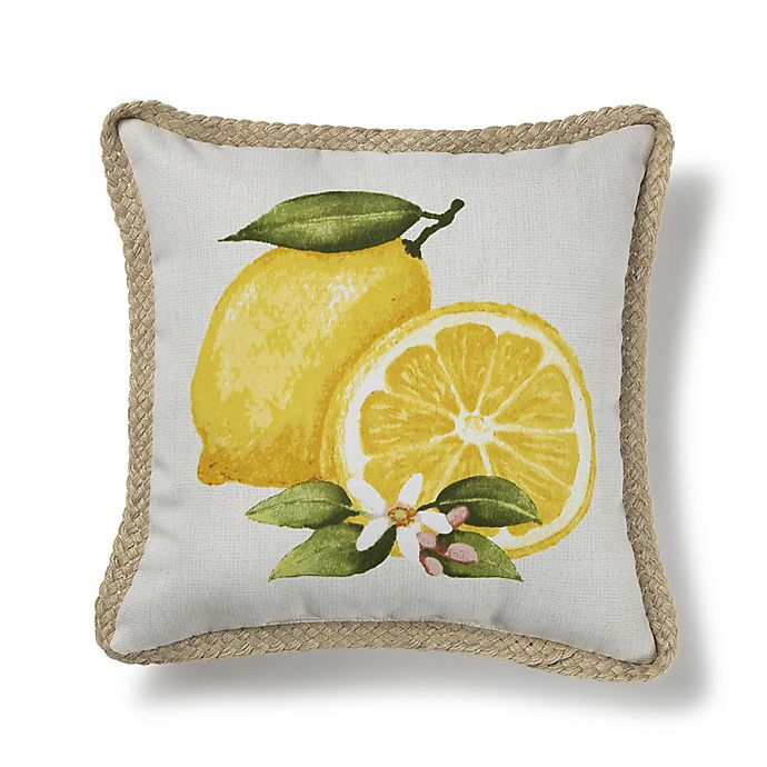 Alternate image 1 for Bee & Willow™ Home Lemon Square Indoor/Outdoor Throw Pillow in Yellow/White