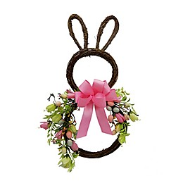 Twig, Egg & Floral Bunny Silhouette Wreath