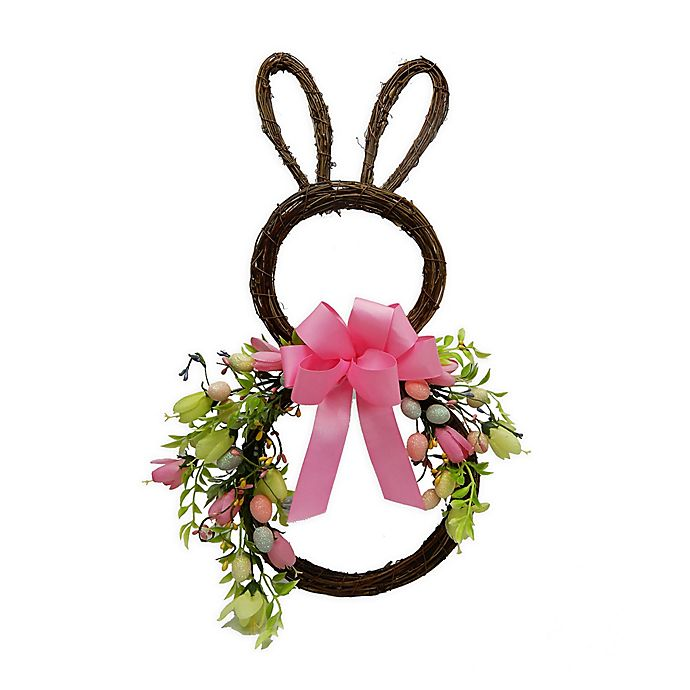 Alternate image 1 for Twig, Egg & Floral Bunny Silhouette Wreath