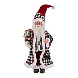 Standing Santa 18-Inch Figurine Holiday Décor in Black/White