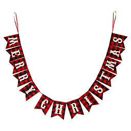 """Plaid """"Merry Christmas"""" Banner Garland in Red/Black/White"""