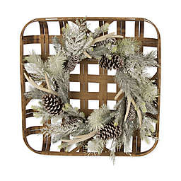 Bamboo Tobacco Basket Christmas Wreath with Flocked Pinecone