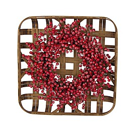 Bamboo Tobacco Basket Christmas Wreath with Red Berries
