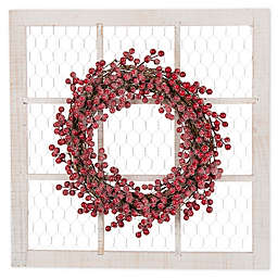 Window Christmas Wreath with Red Berries