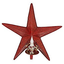 Glitzhome Iron Star Wall Decor with LED Candle