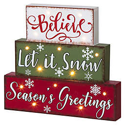Glitzhome LED Lighted Season's Greetings Block Word Sign