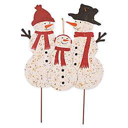 Glitzhome Metal Snowman Family Yard Stake/Wall Decor