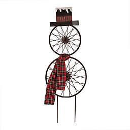 Glitzhome Bike Wheel Snowman with Plaid Scarf Wall Décor