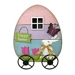 Easter Wooden Egg Cart Decoration in Purple/Pink