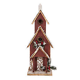 "Glitzhome 23.4"" Oversized Wooden Church Birdhouse in Brown"
