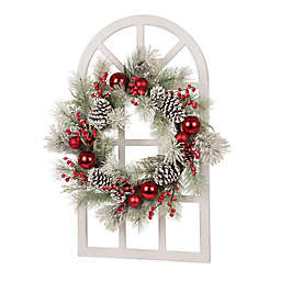 """Glitzhome 36"""" Window Frame with Flocked Pinecone Wreath in White/Red/Green"""