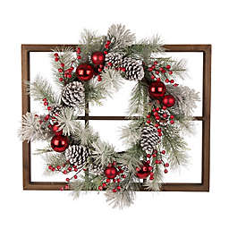 Glitzhome 28-Inch Window Frame with Flocked Pinecone Wreath in Red