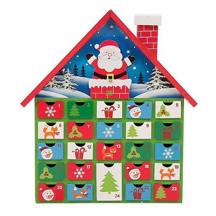 Alternate image 1 for Glitzhome 14-Inch Wooden Santa Farmhouse Countdown Advent Calendar with Drawers