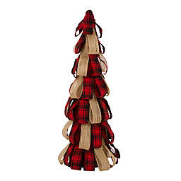 Glitzhome 16.93-Inch Plaid Burlap Tabletop Artificial Christmas Tree in Red