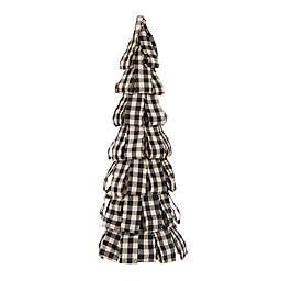 Glitzhome Plaid Fabric Tabletop Christmas Tree in Black/White