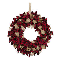 "Glitzhome 19"" Plaid Fabric Wreath in Red"