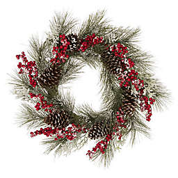 Glitzhome 24-Inch Waterproof Flocked Pinecone and Berry Wreath in Red