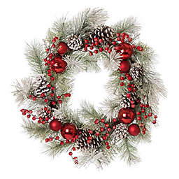 Glitzhome 24-Inch Flocked Pinecone and Ornament Wreath in Red