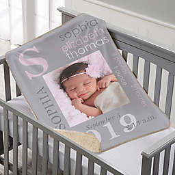 All About Baby Girl Sherpa Photo Blanket