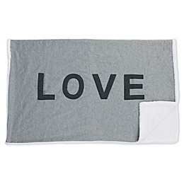 "Thro ""LOVE"" Reversible Jersey Knit Throw Blanket in Charcoal Grey"