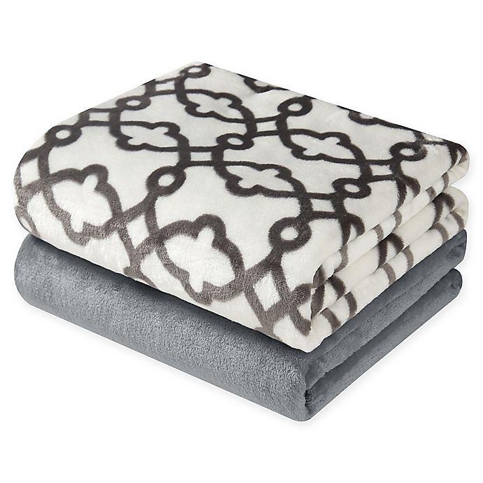 Alternate image 1 for Hudson Home Scroll Throw Blankets (Set of 2)