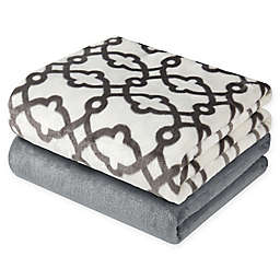 Hudson Home Scroll Throw Blankets (Set of 2)