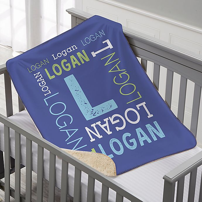 Alternate image 1 for Repeating Name Personalized Premium 30-Inch x 40-Inch Sherpa Baby Blanket