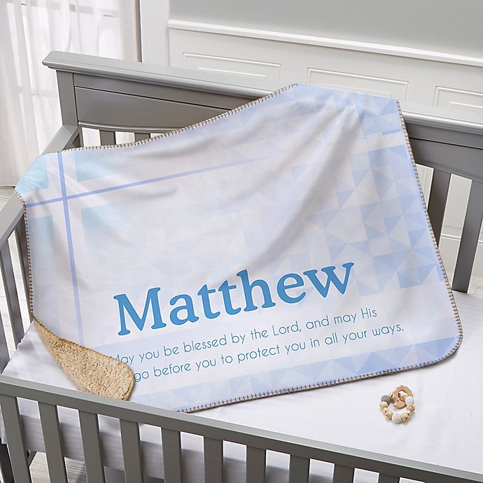 Alternate image 1 for May You Be Blessed Christening Premium Sherpa Throw Blanket