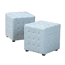 Baxton Studio Arlie Tufted Cube Ottomans (Set of 2)