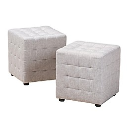 Baxton Studio Arlie Tufted Cube Ottomans (Set of 2)