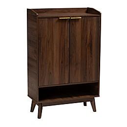 Baxton Studio Carson 5-Shelf Shoe Cabinet in Walnut