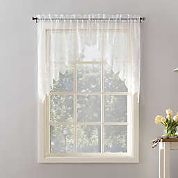 No.918® Joy Lace 38-Inch Rod Pocket Sheer Kitchen Curtain Swag Valance Pair in White